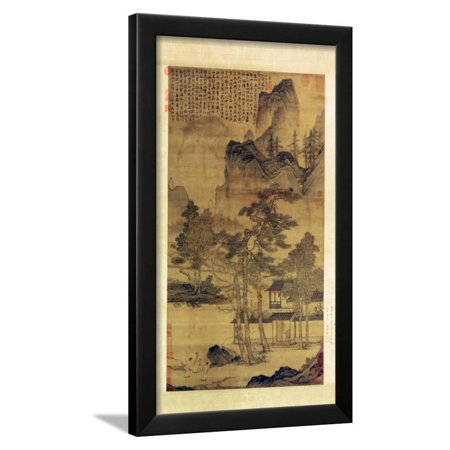 Asian Landscape Design (Scenes of Hermits' Long Days in the Quiet Mountains Asian Landscape Art Framed Print Wall Art By T'ang)