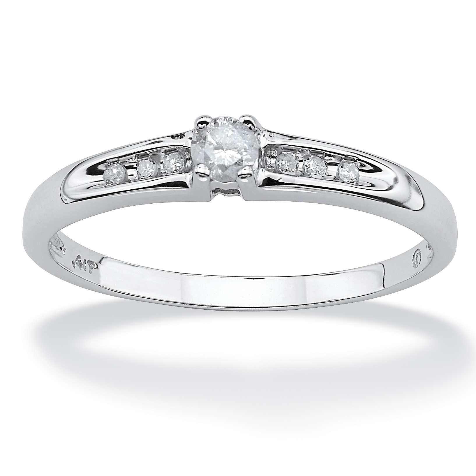 PalmBeach 1/8 TCW Round Diamond 10k White Gold Engagement...