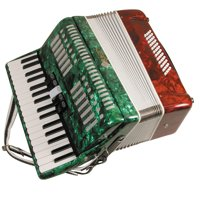 Mirage T5005TC Piano Key Accordion In Tri-Color Mexican Flag-Style Finish With Hard Carrying Case