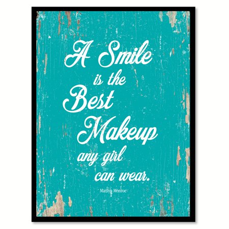 A smile is the best makeup any girl can wear - Marilyn Monroe Quote Saying Aqua Canvas Print with Picture Frame Home Decor Wall Art Gift Ideas 22