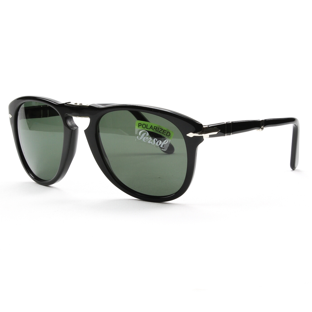 Persol PO 714 95/58 54mm Shiny Black/Green Polarized Folding ...