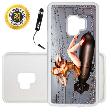 Ww2 Bomber (Custom Galaxy S9 Case (WW2 Bomber Pinup) Edge-to-Edge Rubber White Cover Ultra Slim | Lightweight | Includes Stylus Pen by Innosub )