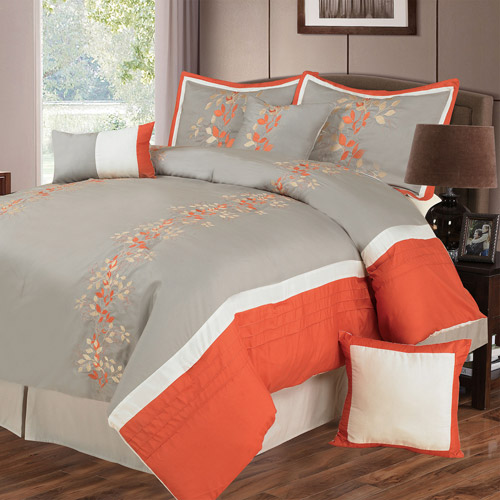 Somerset Home Branches 7-Piece Embroidered Bedding Comforter Set