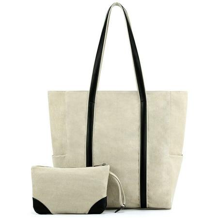 Plambag Canvas Shopper Tote Large Top-Handle Shoulder Bag + Pouch Shopper Tote Shoulder Bag
