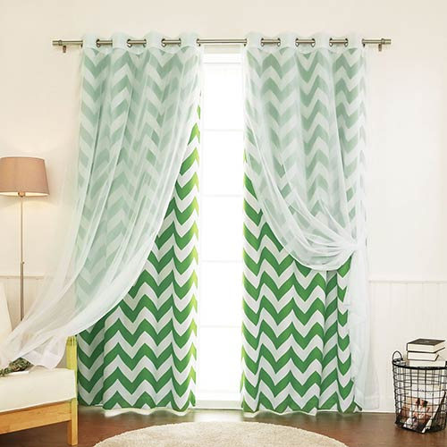 Green Chevron 52 x 84 In. Window Treatments, Set of Four by