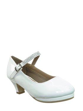 Dana68K by 2, Children Rhinestone Mary Jane Pump - Kids Girls Round Toe Shoes