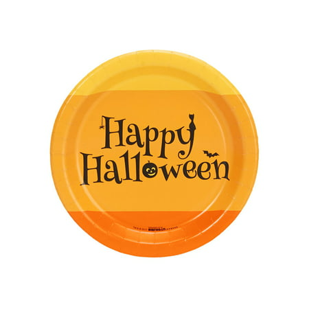 Happy Halloween Candy Corn Dessert Plate (8 Count)](Halloween Popcorn Candy Corn Hands)