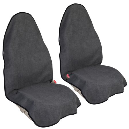 Leader Accessories Grey 2pcs Sweat Towel Auto Car Seat Covers Bucket