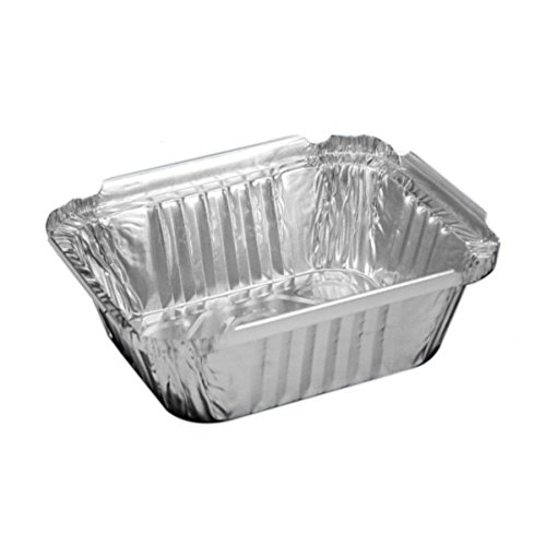 (100 Pack) 1-Lbs Oblong Aluminum Foil Pans with Flat Lids, Take Out Baking Disposable Foil Containers with Matching Covers