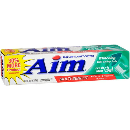 AIM Dentifrice blanchissant Gel Mint 6 oz (Pack de 4)