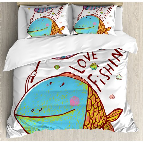 Ambesonne Fishing Kids Cute Large Fat Fish Holding a Flag with Love Quote Humor Fun Nursery Theme Duvet Cover Set