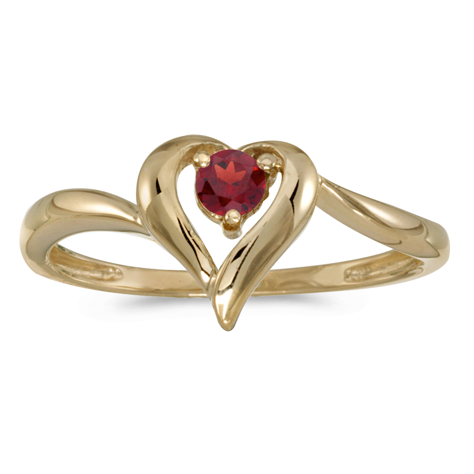 14k Yellow Gold Round Garnet Heart Ring by