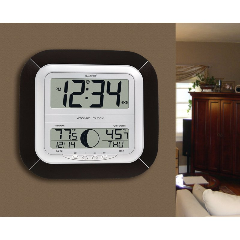 La Crosse Technology Atomic Wall Clock with Outside Temperature, Walnut