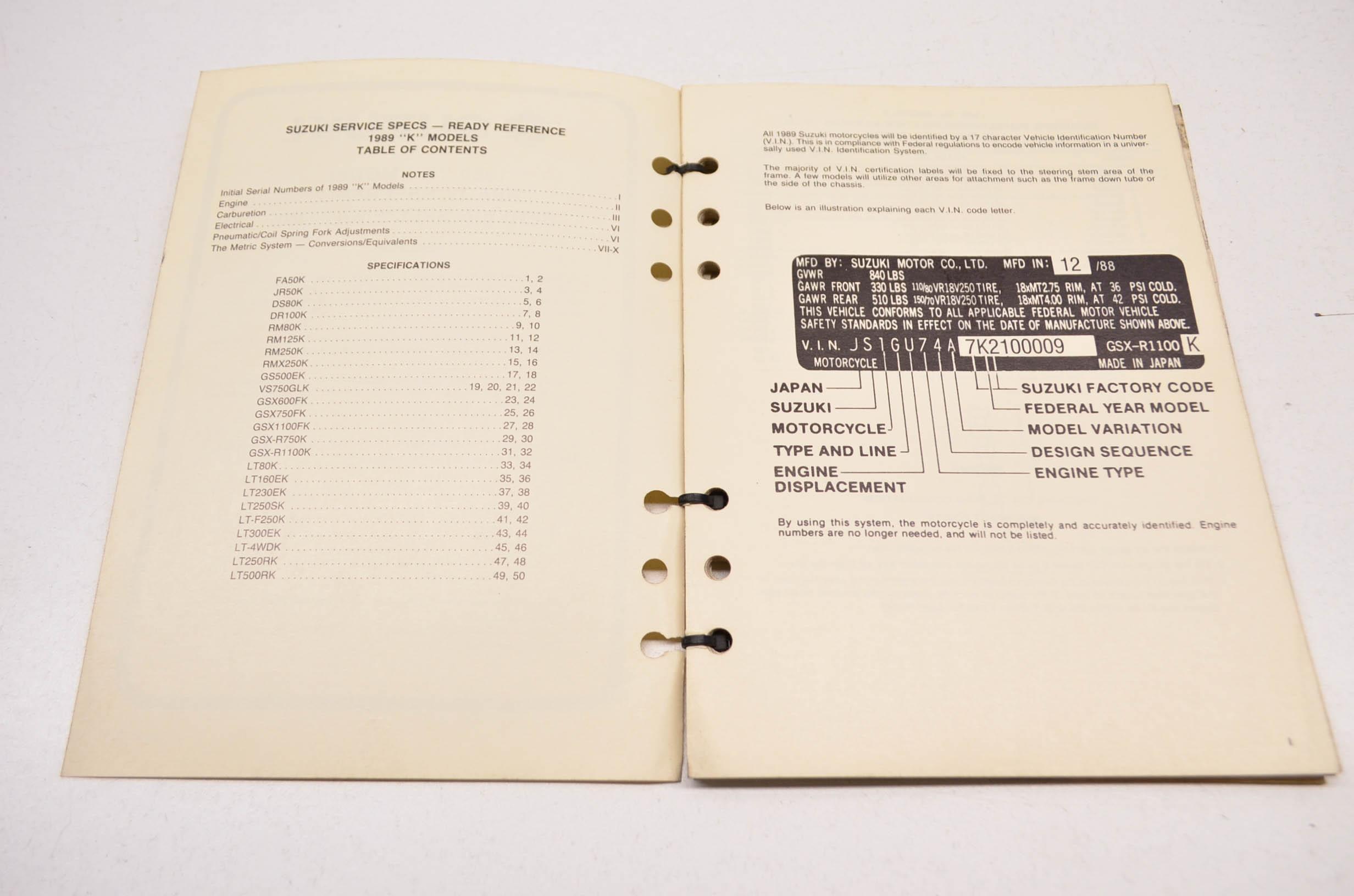 Suzuki 99923-03891 89 K Model Ready Reference Service Specs Manual QTY 1