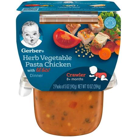 Gerber 3rd Foods Lil' Bits Herb Vegetable, Pasta Chicken Dinner Baby Food, 5 oz. Tubs, 2