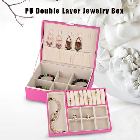 3 Colors Double Layer Jewelry Earrings Rings Bracelet Necklace Box Pu Organizer Storage