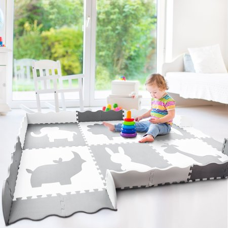 Cranium Giggle Gear - Wee Giggles Extra Large Baby Play Mat (5'x7'), Non-Toxic, Extra Thick Foam Tiles for Nursery or Play Room (Grey/White)