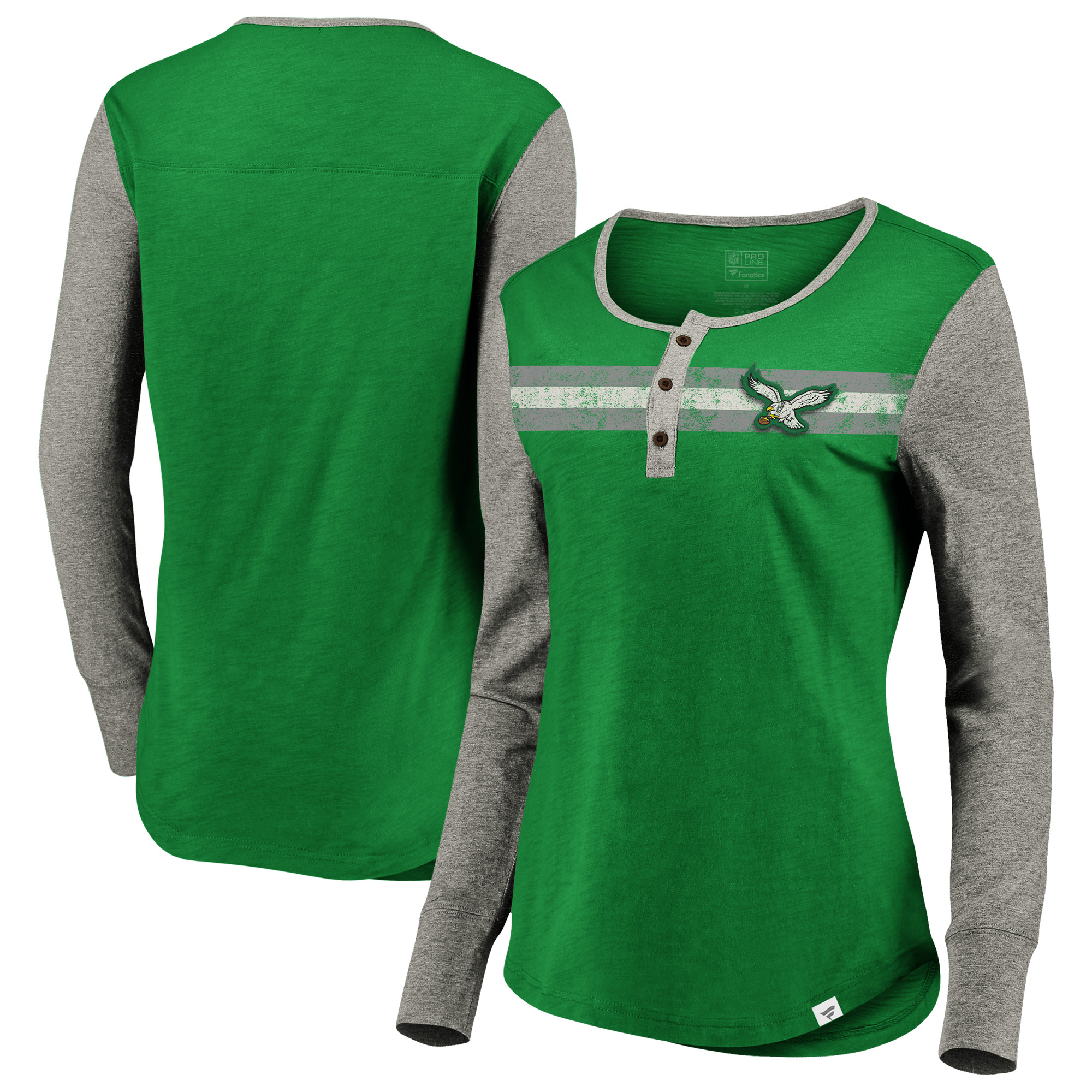 Philadelphia Eagles NFL Pro Line by Fanatics Branded Women's True Classics Retro Stripe Henley T-Shirt - Kelly Green/Heathered Gray