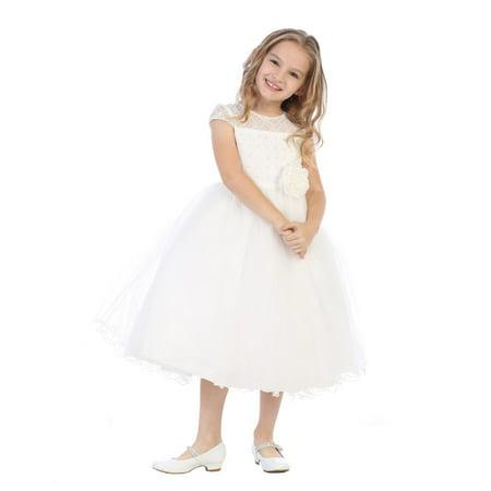 Little Girls Ivory Corded Lace Pearl Bead Sequin Flower Girl Dress - Blossom Dress