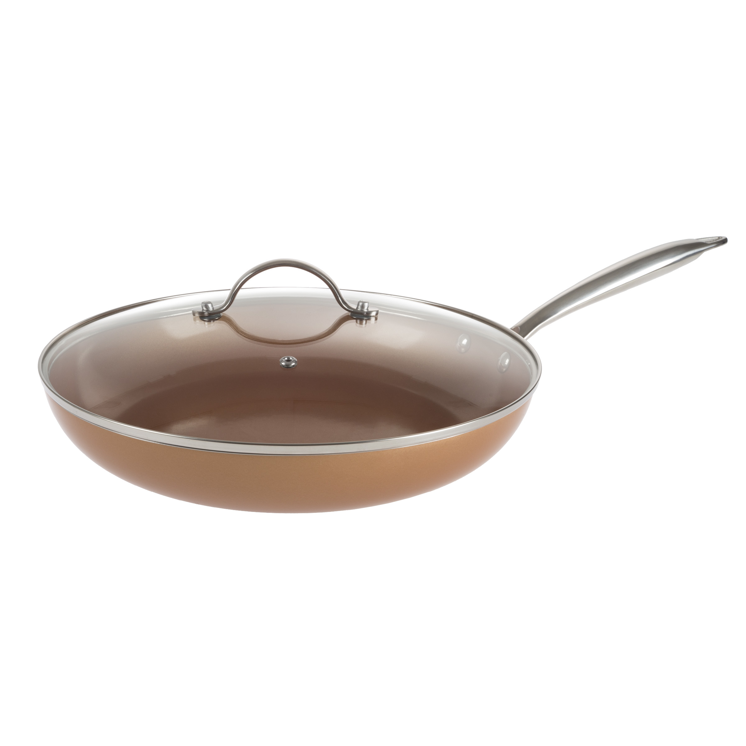 12 Inch Frying Pan with Lid Copper Finish Induction Cooking Oven Stove Top Safe by