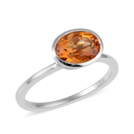 - Girls Sterling Silver Platinum Plated Citrine Solitaire Ring Size 6 -ST Cttw 0.6