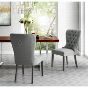 Karee Light Grey Linen Dining Chairs, Pack of 2, Button Tufted, Armless, Chrome Nailhead Trim and Silver Ring Back