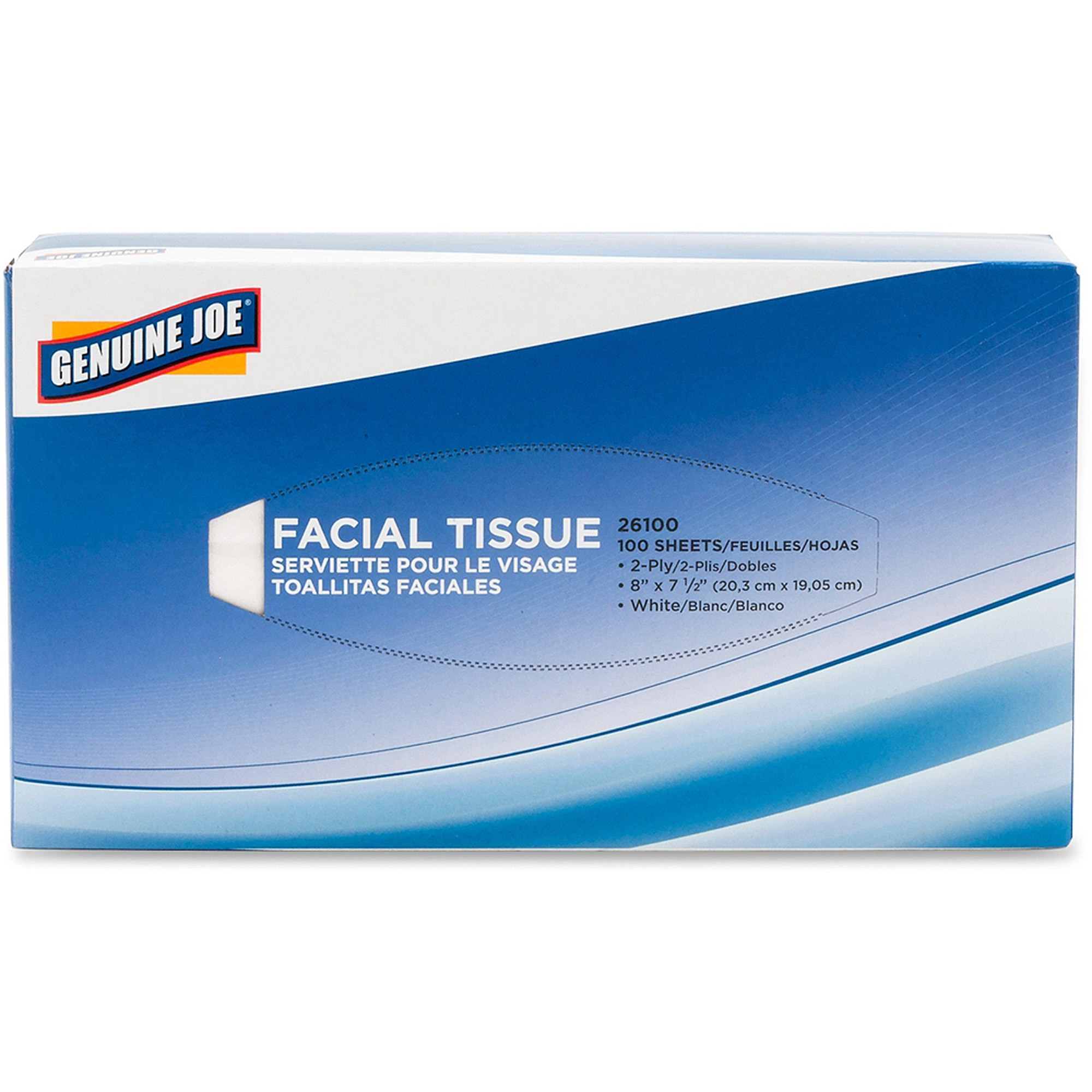 Genuine Joe Facial Tissue, 100 sheets, (Pack of 30)