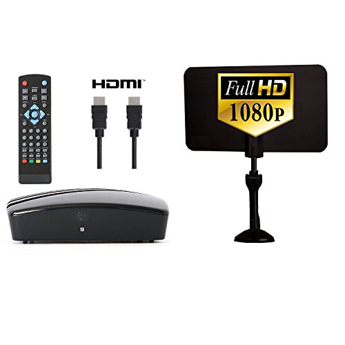 Digital Converter Box + Digital Antenna + HDMI and RCA Cable - Complete Bundle to View and Record HD Channels For FREE (