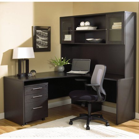 Jesper Office 100 Series L Shaped Desk With Hutch And Mobile Pedestal Espresso