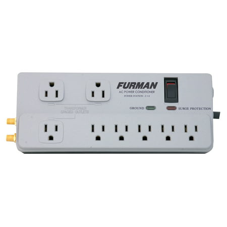 Furman PST-2+6 Power Conditioner Strip, 8 Filtered Outlets, 15A, For Audio/Video