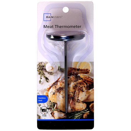Mainstays Stainless Steel Meat Thermometer With theMainstays Meat Thermometer, you can accurately monitor the temperature of your cooked meats before serving. To check the temperature of your meats, simply insert the probe into the thickest area of the meat itself. This Mainstays Meat Thermometer will give you a perfect reading within seconds. This is the essential tool for your kitchen. This Mainstays Meat Thermometer ranges from 120-220 degrees Fahrenheit on the face. This meat thermometer is durable and made of stainless steel. It is alsodishwasher safe, makeup cleanup easy. Take the guesswork out of cooking. Get your Mainstays Meat Thermometer at a Walmart near youor online at Walmart.com.
