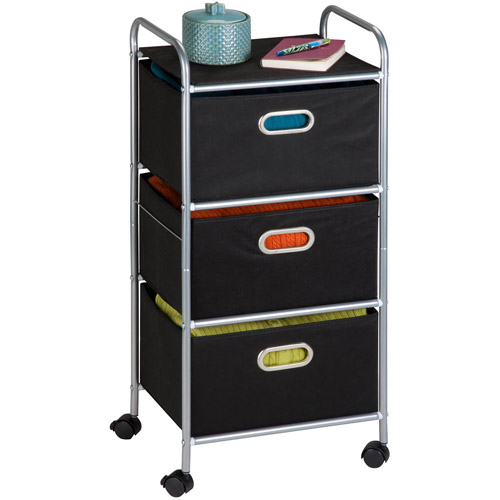 rolling carts with drawers honey can do rolling storage cart with 3 fabric drawers 25620