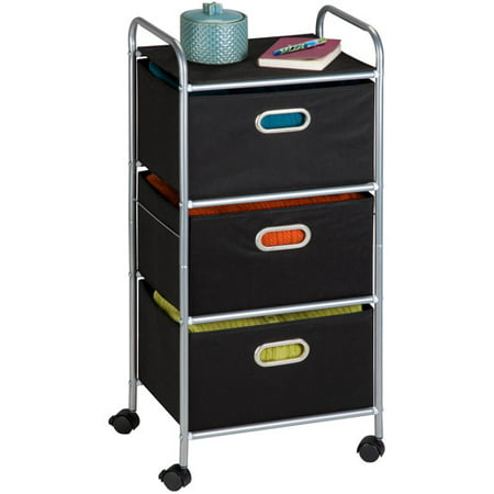 Honey Can Do Rolling Storage Cart With 3 Fabric Drawers Black