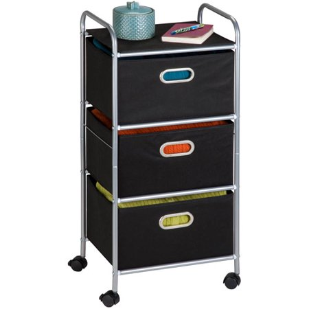 Honey Can Do Rolling Storage Cart With 3 Fabric Drawers