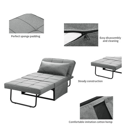 Ainfox Convertible Sofa Bed 4 in 1 Multi-Function Folding Modern Ottoman Breathable Linen Couch Bed Guest Bed Lounge with Adjustable Sleeper