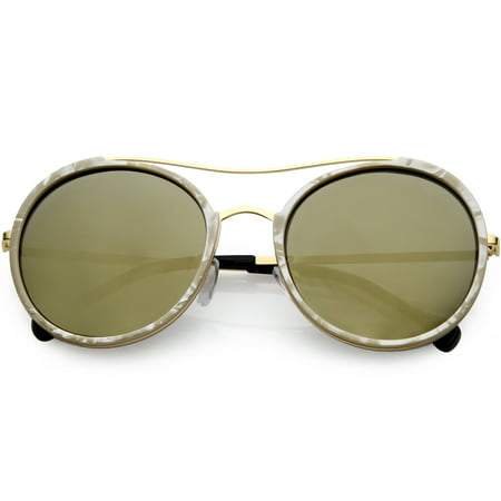 Women's Metal Crossbar Round Sunglasses Polarized Lens 56mm (Creme / Gold Mirror)