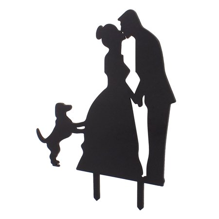 Bride Groom Kissing Couple Pet Dog Silhouette Wedding Decoration Cake Topper for $<!---->