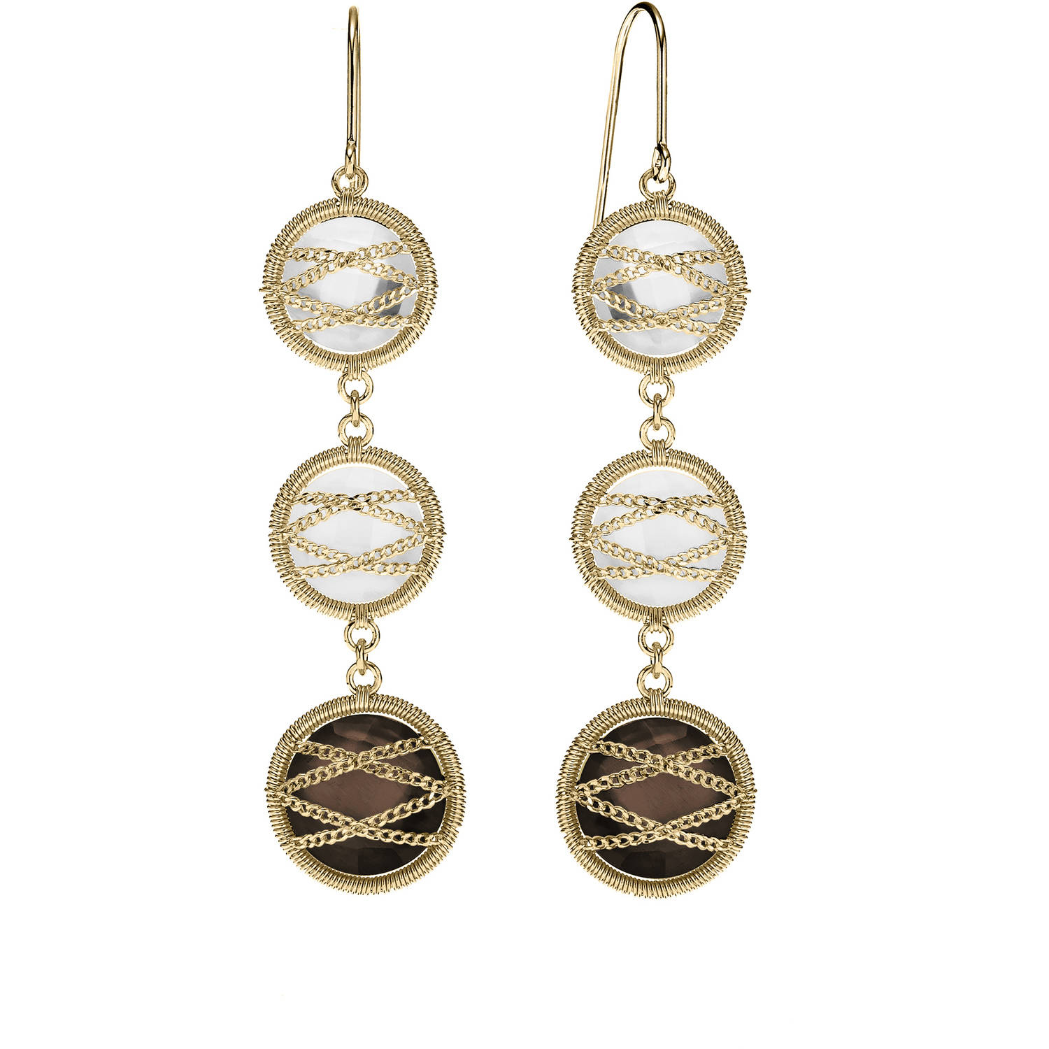 Image of 5th & Main 18kt Gold over Sterling Silver Hand-Wrapped Triple Round Smokey Quartz and Crystal Stone Earrings