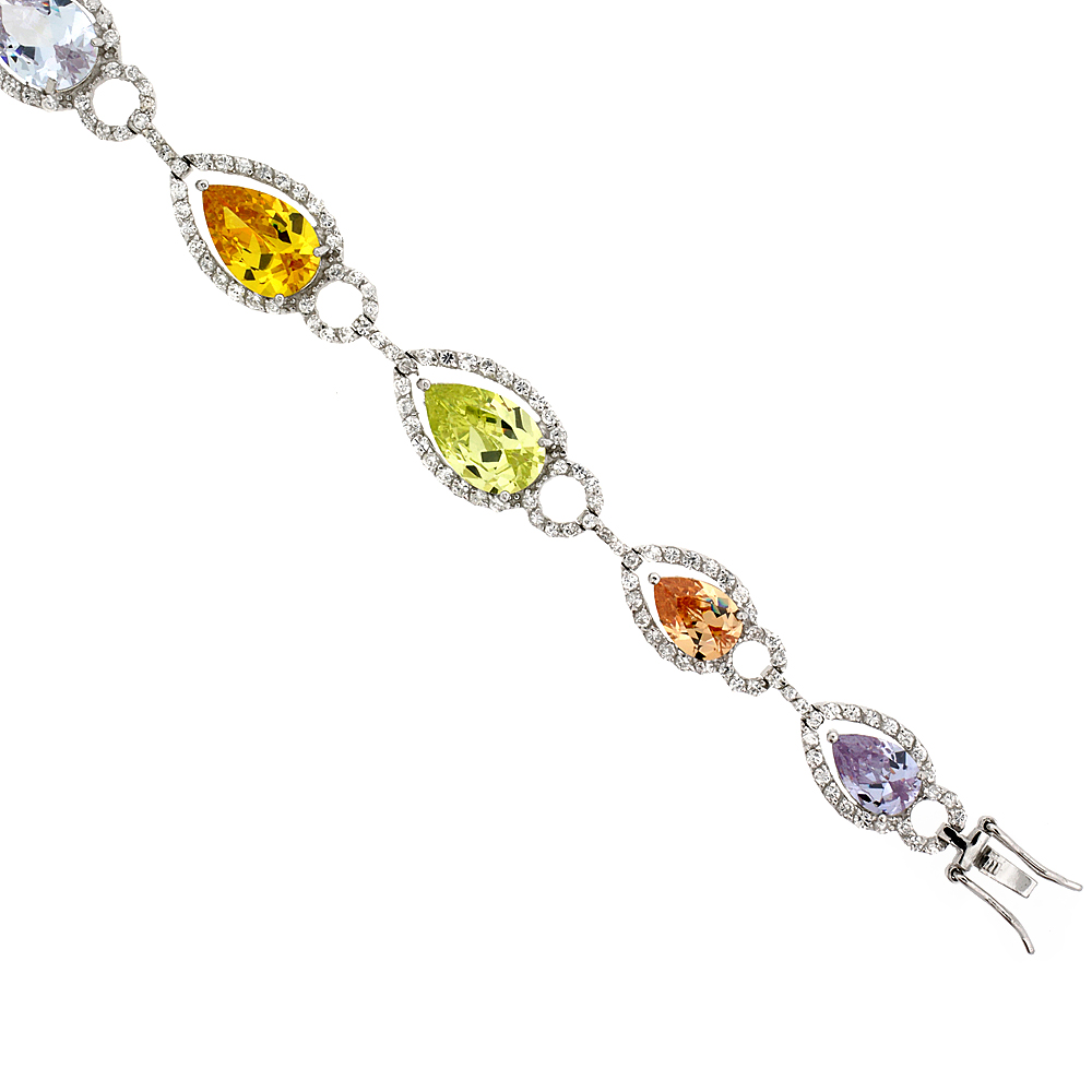 "Sterling Silver & Rhodium Plated Ladies' 7 1 4"" Bracelet, w  Pear Cut Cubic Zirconia Stones in Assorted Colors... by WorldJewels"