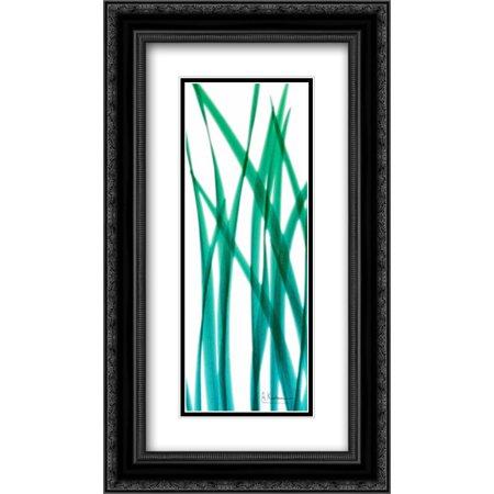 Snow Drop Flowing Blue Green 2x Matted 14x24 Black Ornate Framed Art Print by Koetsier, Albert