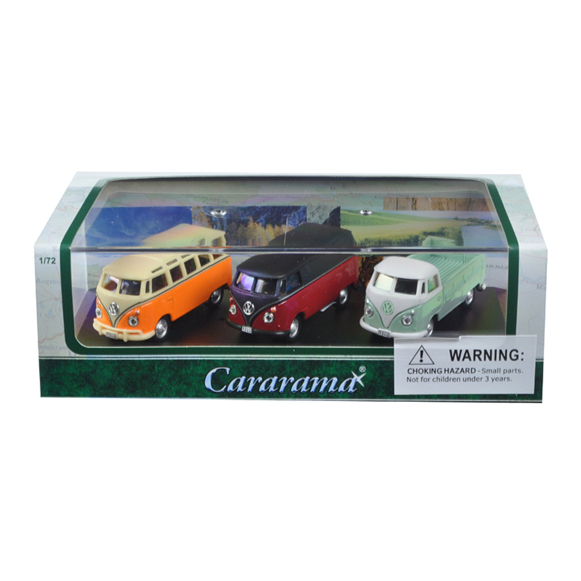 Volkswagen Bus 3 Piece Gift Set In Display Showcase 1 72 Cast Model Cars By Cararama Canada