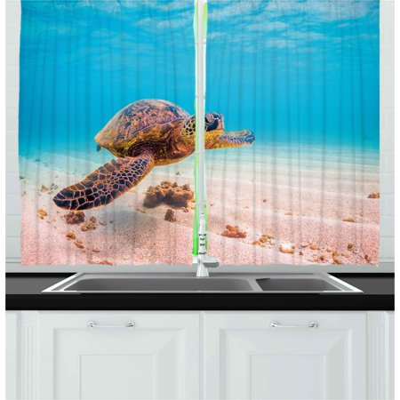 Turtle Curtains 2 Panels Set, Hawaiian Green Sea Turtle Cruises in Warm Waters of the Pacific Ocean Photo, Window Drapes for Living Room Bedroom, 55W X 39L Inches, Aqua Cinnamon Brown, by Ambesonne