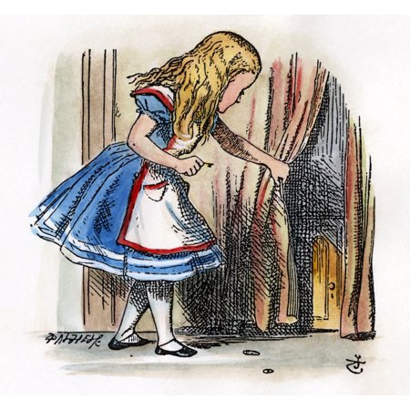 Carroll Alice 1865 Nbehind A Low Curtain Alice Notices A Little Door After The Design By Sir John Tenniel For The First Edition Of Lewis CarrollS AliceS Adventures In Wonderland (Net Curtains John Lewis)