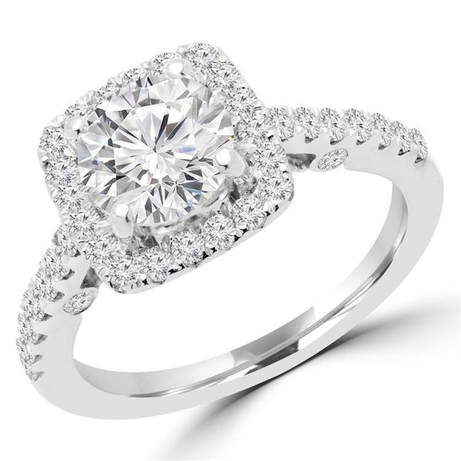 Majesty Diamonds MD170342-7.75 1.33 CTW Round Diamond Halo Engagement Ring in 14K White Gold, Size 7.75 - image 1 de 1