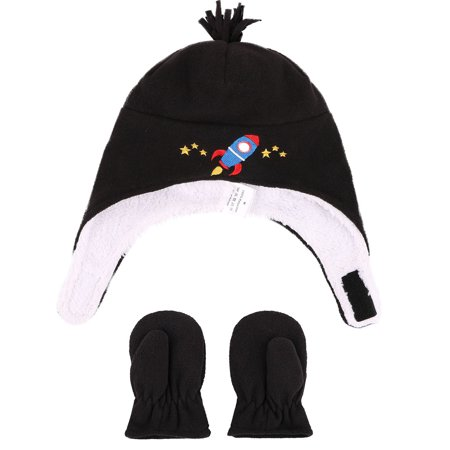Kids Boys Girls Sherps Lined Embroidered Fleece Hat Mitten