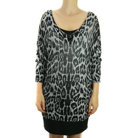 640ca368d5b70 INC - Inc Gray-Black Plus Size Animal-Print Zip-Shoulder Sweater 3X ...