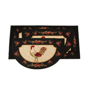 "Kashi Home Rooster 3pc Kitchen Rug Set, (2) Slice 18""x30"" Rugs, (1) 20""x40"" Mat, Non-Slid Latex Back"