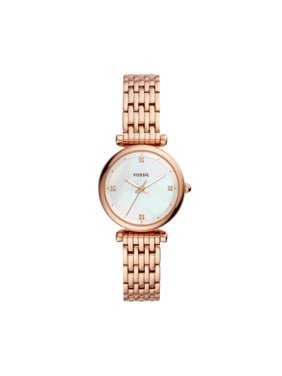 Fossil Women's Carlie Mini Three-Hand Rose Gold-Tone Stainless Steel Watch, ES4429