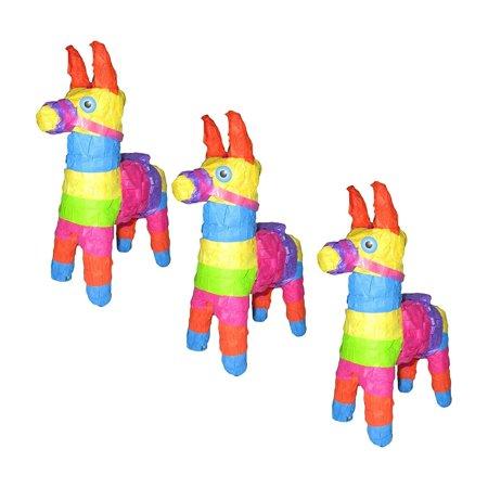 Mini Donkey Burro Pinata For Fiesta Party Favors, 3 Pieces (Pinata Donkey)