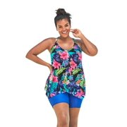 Swim 365 Women's Plus Size Long Drape-Front Tankini Top